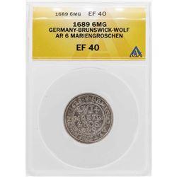 1689 Germany-Brunswick-Wolf 6 Mariengroschen Silver Coin ANACS XF40