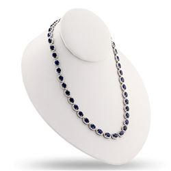 34.17 ctw Blue Sapphire and 9.15 ctw Diamond 14K White Gold Necklace
