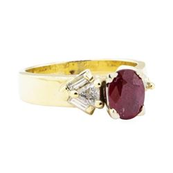 1.91 ctw Ruby and Diamond Ring - 14KT Yellow Gold