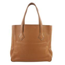Hermes Victoria Cabas Clemence 32 Brown Leather Shoulder Bag