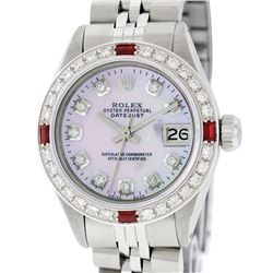 Rolex Ladies Stainless Steel Pink MOP Diamond & Ruby Datejust Wristwatch