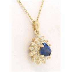 14k Solid Gold Pear Tear Drop ROYAL BLUE Sapphire w/ Double Diamond Halo Pendant