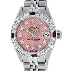 Rolex Ladies Stainless Steel Salmon Stamp Diamond & Ruby Datejust Wristwatch