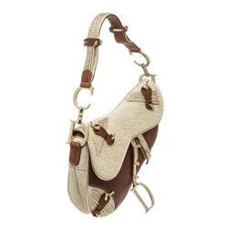 Christian Dior Metallic Gold Brown Jacquard-Trimmed Saddle Bag