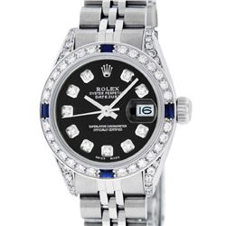 Rolex Ladies Stainless Steel Black Diamond Lugs & Sapphire Datejust With Watch W