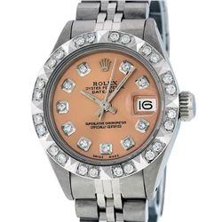 Rolex Ladies Stainless Steel Salmon 18K Gold Pyramid Bezel Diamond Datejust