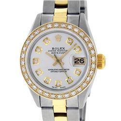 Rolex Ladies 2 Tone 18K Gold Bezel Silver Diamond 26MM Datejust Wristwatch