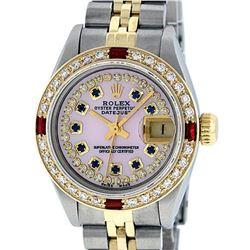 Rolex Ladies 2 Tone 14K Pink MOP Sapphire & Ruby Datejust Wriswatch