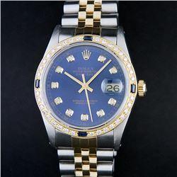 Rolex Mens 2 Tone 14K Blue Diamond & Sapphire Datejust Wriswatch