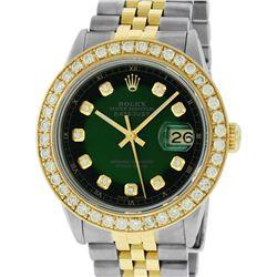 Rolex Mens 2 Tone 18K Green Vignette 2.5 ctw Diamond Datejust Wristwatch With Ro
