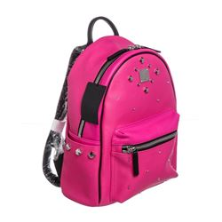 MCM Beet Root Pink Small Coated Canvas Stark Odeon Backpack