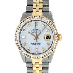 Rolex Mens 2 Tone 14K MOP Princess Cut Diamond Datejust Wristwatch With Rolex Bo