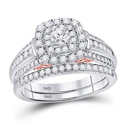 1 CTW Round Diamond Bridal Wedding Engagement Ring 14kt Two-tone Gold - REF-113M9A