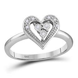 0.02 CTW Round Diamond Heart Ring 10kt White Gold - REF-9X6T