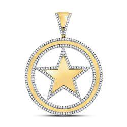 1 CTW Mens Round Diamond Circle Star Charm Pendant 10kt Yellow Gold - REF-83M9A