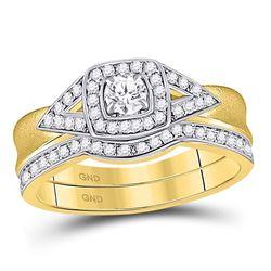 1/2 CTW Round Diamond Bridal Wedding Engagement Ring 14kt Yellow Gold - REF-65F9M