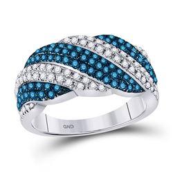 7/8 CTW Round Blue Color Enhanced Diamond Striped Ring 10kt White Gold - REF-41R9H