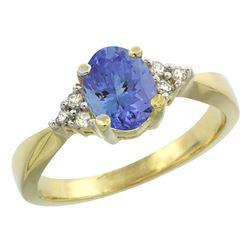 0.83 CTW Tanzanite & Diamond Ring 14K Yellow Gold - REF-43V2R