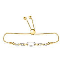 1/3 CTW Round Diamond Oval Link Bolo Bracelet 10kt Yellow Gold - REF-45T6K