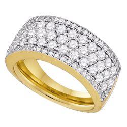 1 & 5/8 CTW Round Diamond Ring 14kt Yellow Gold - REF-120X3T