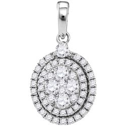 1 CTW Round Diamond Oval Cluster Pendant 14kt White Gold - REF-105W6F