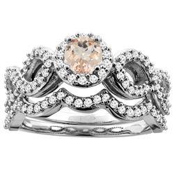 0.94 CTW Morganite & Diamond Ring 14K White Gold - REF-94X6M