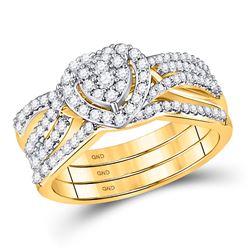 1/2 CTW Round Diamond Bridal Wedding Engagement Ring 10kt Yellow Gold - REF-54T3K