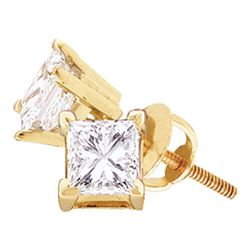 3/4 CTW Unisex Princess Diamond Solitaire Stud Earrings 14kt Yellow Gold - REF-77M9A