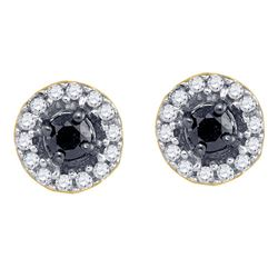 1/5 CTW Round Black Color Enhanced Diamond Cluster Earrings 10kt Yellow Gold - REF-11F9M