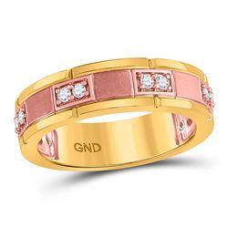 1/5 CTW Mens Round Diamond Wedding Ring 14kt Two-tone Rose Gold - REF-47R9H