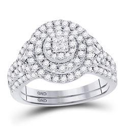 3/4 CTW Princess Diamond Bridal Wedding Engagement Ring 14kt White Gold - REF-83K9R