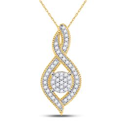 1/6 CTW Round Diamond Nested Cluster Pendant 10kt Yellow Gold - REF-11Y9X