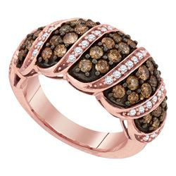 1 & 1/2 CTW Round Brown Diamond Cascading Ring 10kt Rose Gold - REF-65Y9X