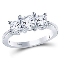 1 & 1/2 CTW Princess Diamond 3-stone Bridal Wedding Engagement Ring 14kt White Gold - REF-234M3A