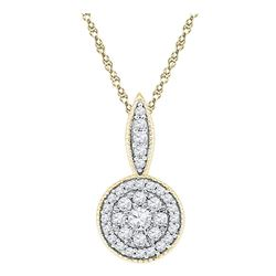 1/3 CTW Round Diamond Cluster Pendant 10kt Yellow Gold - REF-21N5Y