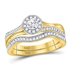 1/2 CTW Round Diamond Bridal Wedding Engagement Ring 14kt Yellow Gold - REF-77Y9X