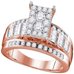 7/8 CTW Round Diamond Cluster Bridal Wedding Engagement Ring 10kt Rose Gold - REF-55H5W