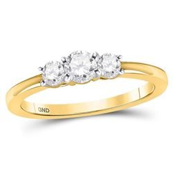 1/2 CTW Round Diamond 3-stone Bridal Wedding Engagement Ring 14kt Yellow Gold - REF-47H9W