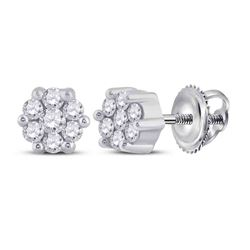 1/6 CTW Round Diamond Flower Cluster Earrings 14kt White Gold - REF-14M4A