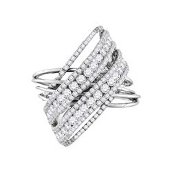 2 & 1/2 CTW Round Diamond Crossover Open Strand Cocktail Ring 14kt White Gold - REF-185N9Y