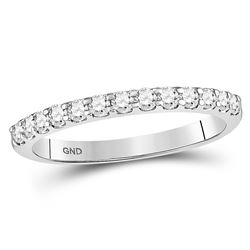 1/3 CTW Round Diamond Single Row Machine-set Wedding Ring 14kt White Gold - REF-27Y5X