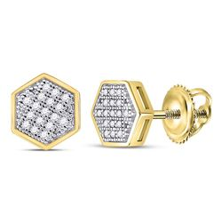 1/10 CTW Mens Round Diamond Hexagon Cluster Stud Earrings 10kt Yellow Gold - REF-11F4M