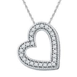 1/8 CTW Round Diamond Heart Pendant 10kt White Gold - REF-8A4N