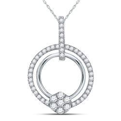 3/8 CTW Round Diamond Circle Cluster Pendant 10kt White Gold - REF-27X5T