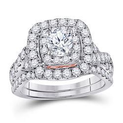 2 CTW Round Diamond Bridal Wedding Engagement Ring 14kt Two-tone Gold - REF-239T9K