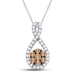 3/8 CTW Round Brown Diamond Cluster Pendant 10kt White Gold - REF-20N3Y