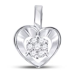 1/12 CTW Round Diamond Small Heart Cluster Pendant 10kt White Gold - REF-7M5A