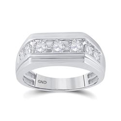 1 CTW Mens Round Diamond Flat Top Ring 10kt White Gold - REF-71F9M