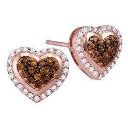 1/2 CTW Round Brown Diamond Heart Cluster Screwback Earrings 10kt Rose Gold - REF-30R3H