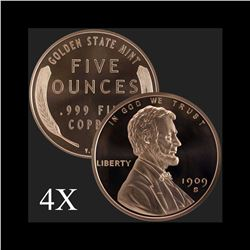 5 oz Lincoln Wheat Cent .999 Fine Copper Bullion Round